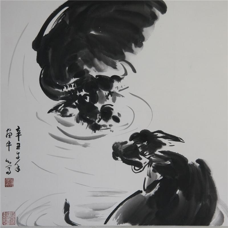 徐心富作品68*68  2021 紙本設色 臺 灣 水 牛:用水墨畫臺灣水牛。金門以黃牛為多。臺灣則多為水牛。