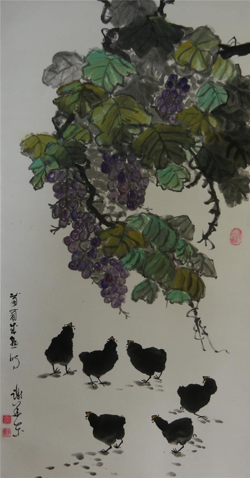謝華東作品68*136  2021紙本設色 葡萄成熟時