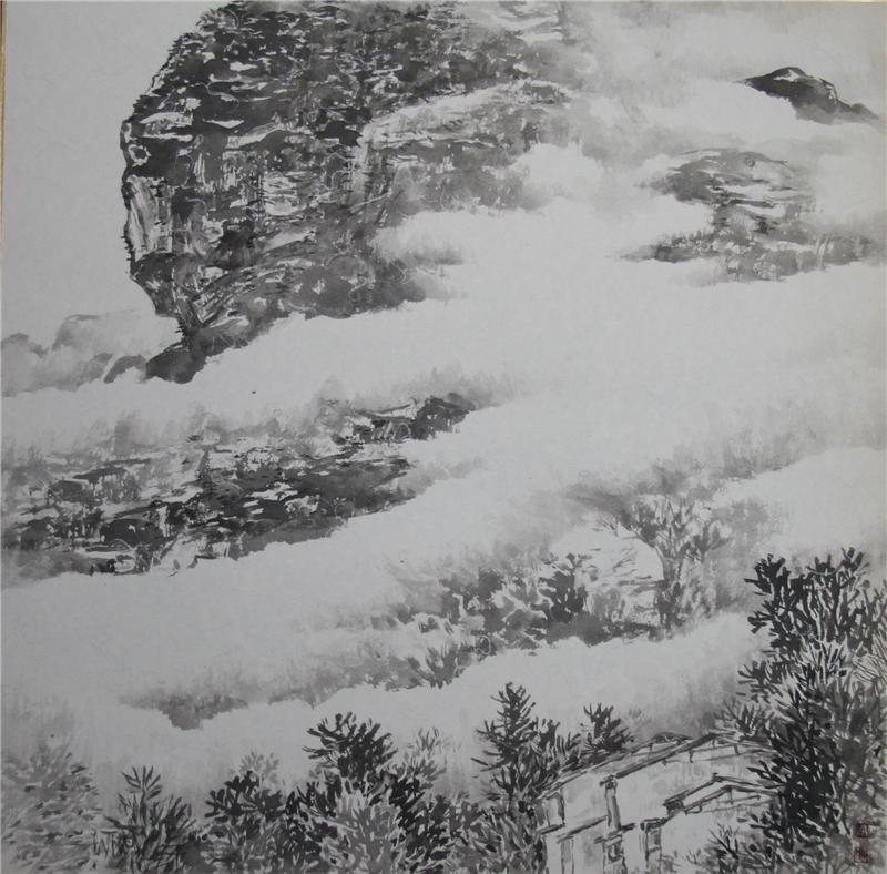 唐敏達作品52*45  2021紙本設色 青山白雲